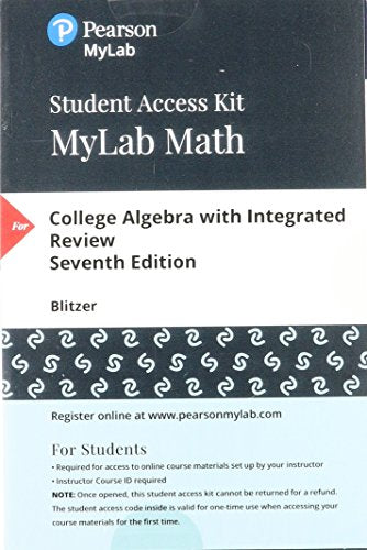 MyLab Math with Pearson eText -- 24-Month Standalone Access Card -- for College Algebra with Integrated Review