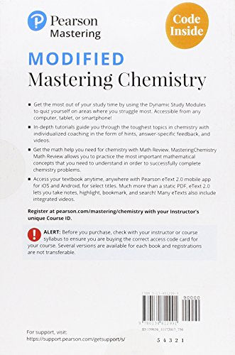Modified Mastering Chemistry with Pearson eText -- Standalone Access Card -- for General, Organic, and Biological Chemistry: Structures of Life