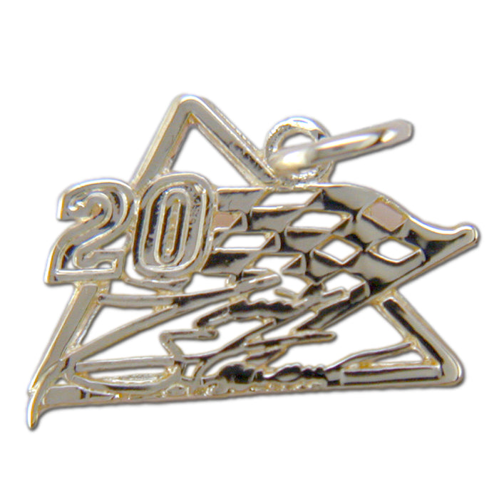 #20 NASCAR Driver Sterling Silver Racing Flag Pendant