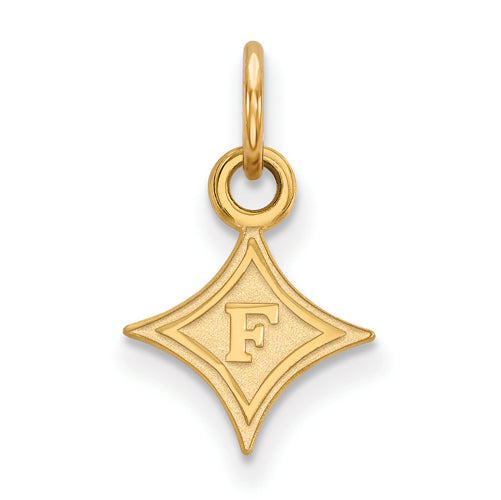SS w/GP F Logo Furman University XS Pendant