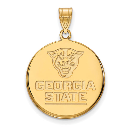 SS w/GP Georgia State University Large Disc Pendant