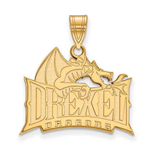 SS w/GP Drexel University Large Dragon Pendant