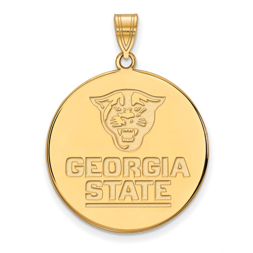 SS w/GP Georgia State University XL Disc Pendant