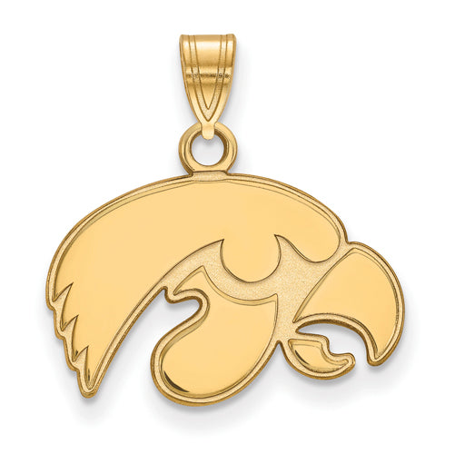 SS w/GP University of Iowa Small Hawkeye Pendant