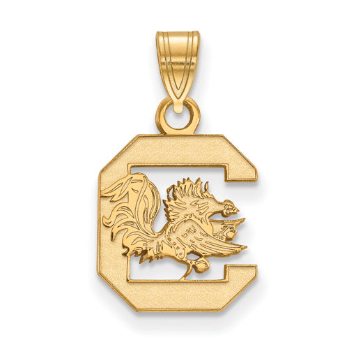SS w/GP University of South Carolina Small Gamecock logo Pendant