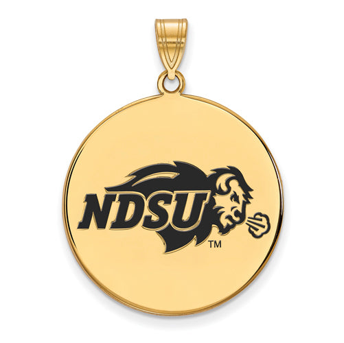 SS w/GP North Dakota State XL Enamel Disc Pendant