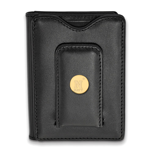 SS w/GP Navy Black Leather Wallet