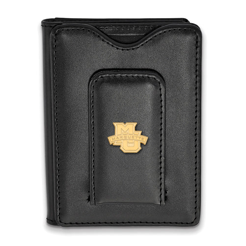 SS w/GP Marquette University Black Leather Wallet