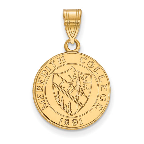 SS w/GP Meredith College Medium Crest Pendant
