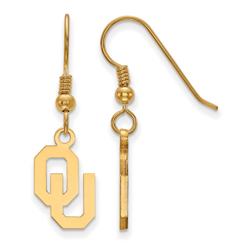 SS w/GP University of Oklahoma Small Dangle Earrings