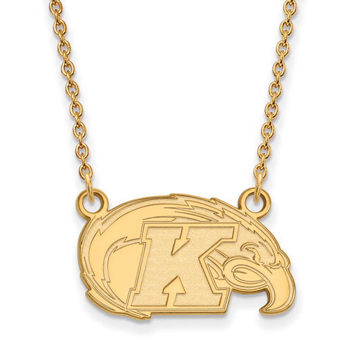 SS w/GP Kent State Small Logo Pendant w/Necklace