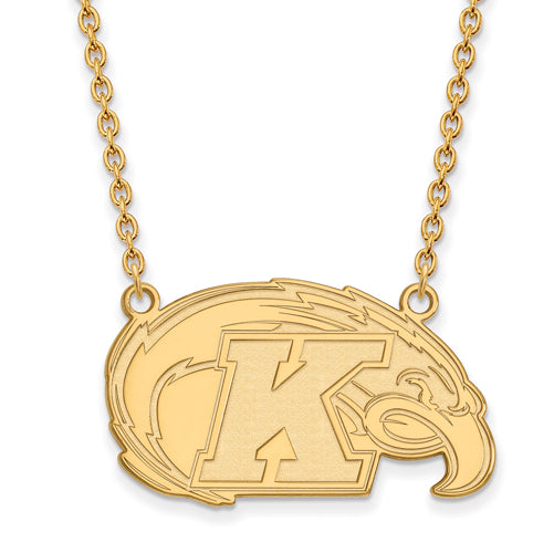 SS w/GP Kent State Large Logo Pendant w/Necklace