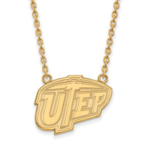 SS w/GP The U of Texas at El Paso Lg UTEP Pendant w/Necklace