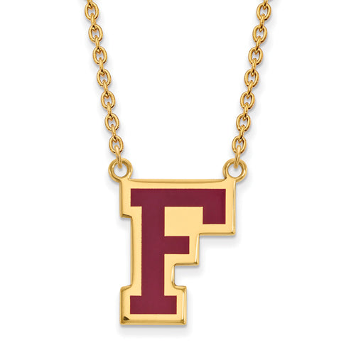 SS w/GP Fordham U Enamel Large Pendant w/Necklace