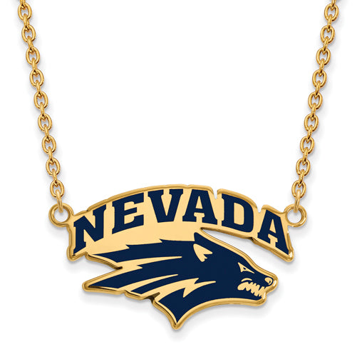 SS w/GP U of Nevada Large Enamel Pendant w/Necklace