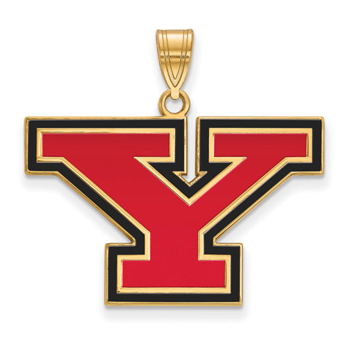 SS w/GP Youngstown State U Large Enamel Pendant