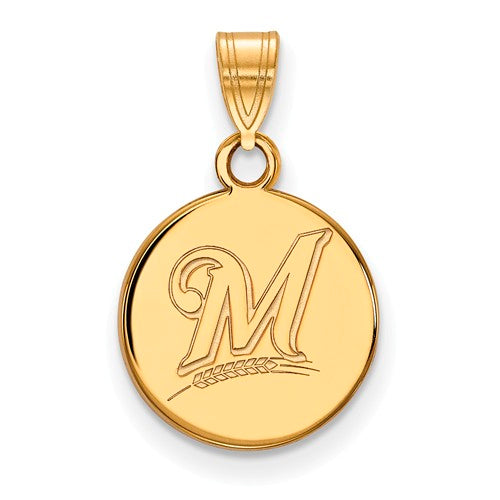 SS w/GP MLB  Milwaukee Brewers Small Disc Logo Pendant