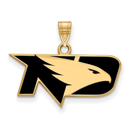 SS w/GP Univ of North Dakota Small Enamel Fighting Hawks Pendant