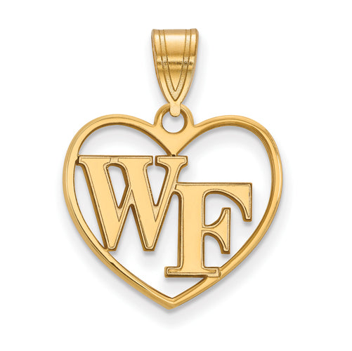 SS w/GP Wake Forest University Pendant in Heart