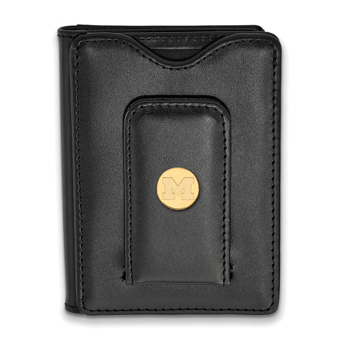 SS w/GP University of Michigan Black Leather Wallet