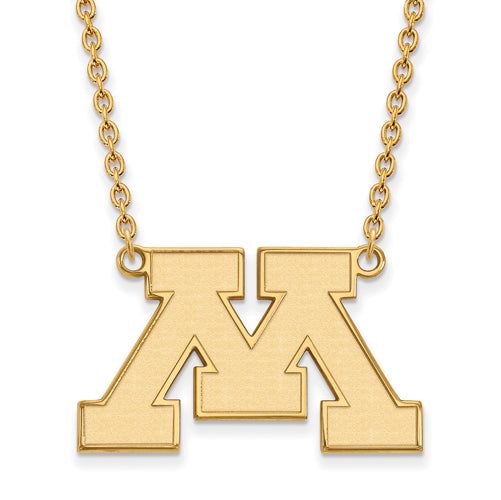 14ky University of Minnesota Large Logo Pendant w/Necklace