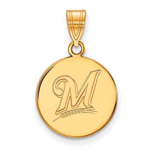 SS w/GP MLB  Milwaukee Brewers Medium Disc Logo Pendant