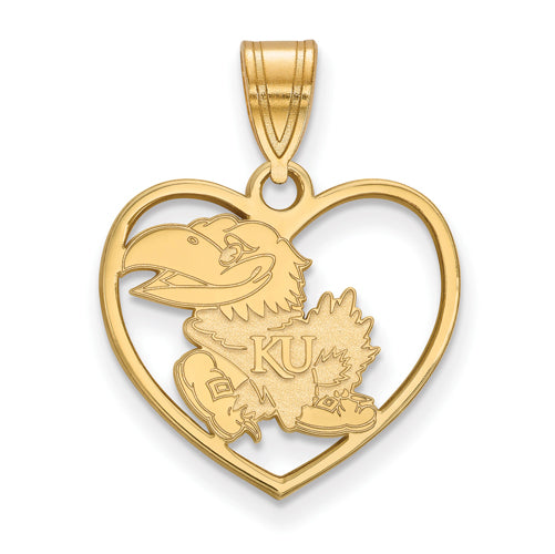 SS w/GP University of Kansas Pendant in Heart