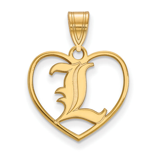 SS w/GP University of Louisville Pendant in Heart