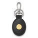 SS w/GP Oklahoma Black Leather Oval Key Chain