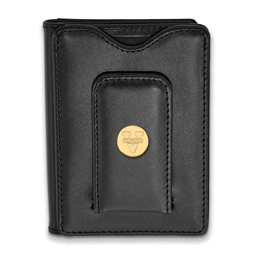 SS w/GP University of Virginia Black Leather Text Logo Wallet