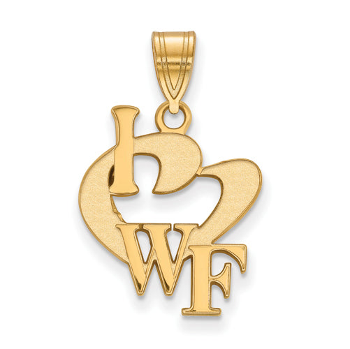 SS w/GP Wake Forest University Large I Love Logo Pendant