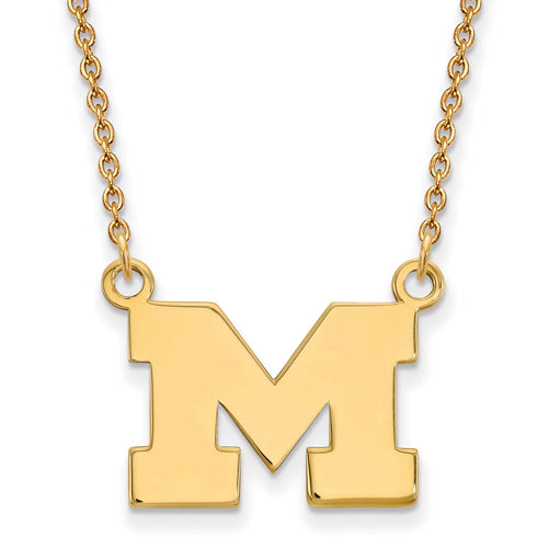SS w/GP University of Michigan Small Logo Pendant w/Necklace