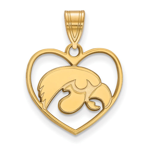 SS w/GP University of Iowa Pendant in Heart