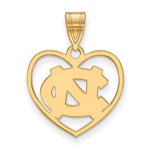SS w/GP University of North Carolina NC Logo Pendant in Heart