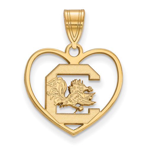 SS w/GP University of South Carolina Pendant in Heart