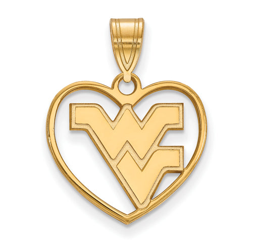SS w/GP West Virginia University Pendant in Heart