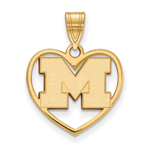 SS w/GP University of Michigan Pendant in Heart