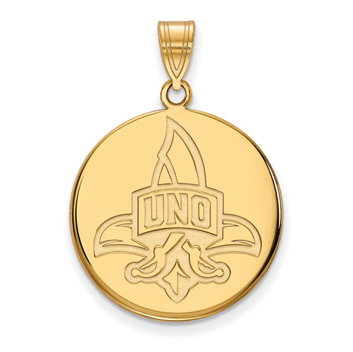 SS w/GP University of New Orleans Large Disc Logo with UNO Pendant