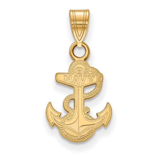SS w/GP Navy Anchor Small Pendant