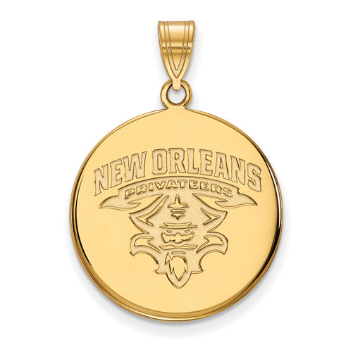 SS w/GP University of New Orleans Large Disc Pendant