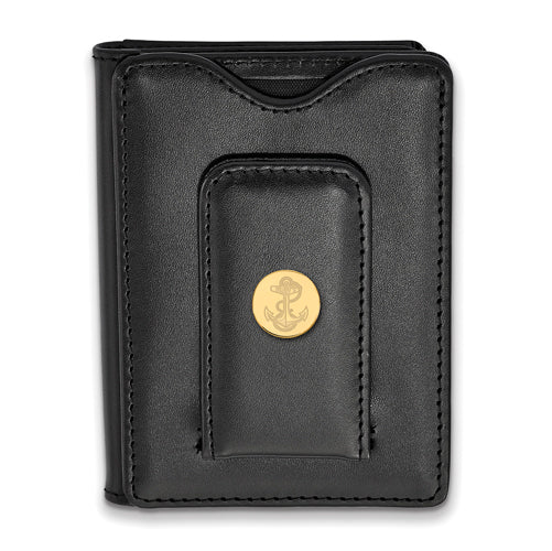 SS w/GP Navy Anchor Black Leather Wallet