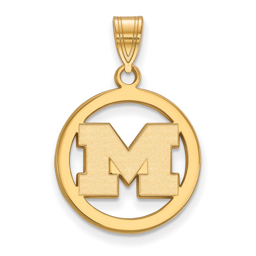 SS w/GP University of Michigan Med Pendant in Circle
