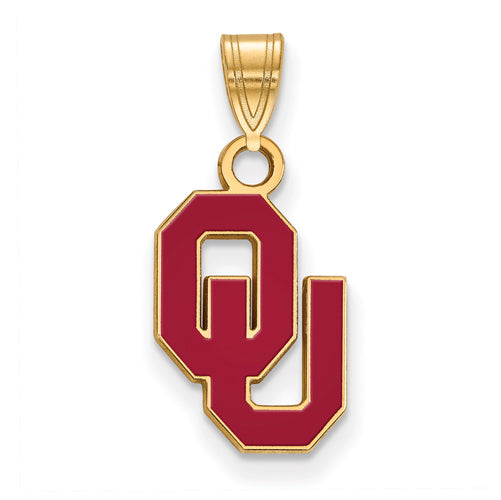SS w/GP University of Oklahoma Small Enamel Pendant