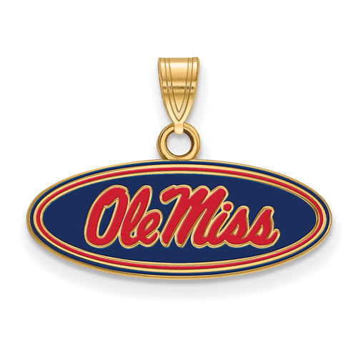 SS w/GP U of Miss Small Oval Ole Miss Enamel Pendant