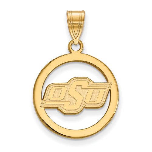SS w/GP Oklahoma State University Small Pendant in Circle