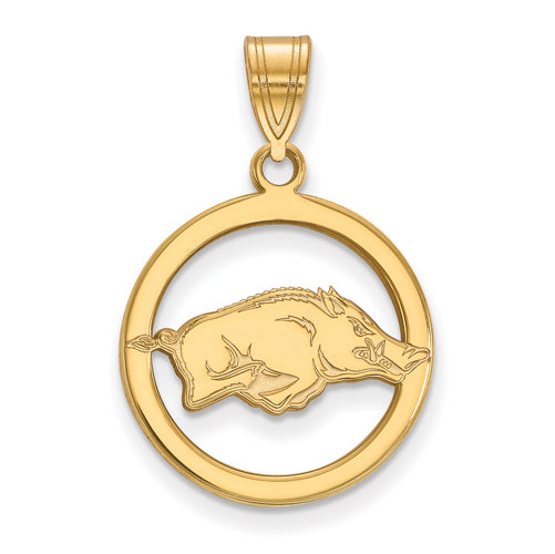 SS w/GP University of Arkansas Med Pendant in Circle