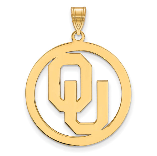 SS w/GP University of Oklahoma XL Pendant in Circle