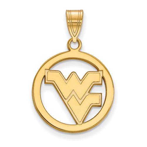 SS w/GP West Virginia University Medium Pendant in Circle