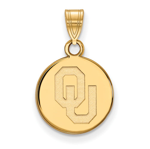 SS w/GP University of Oklahoma Small Disc Pendant