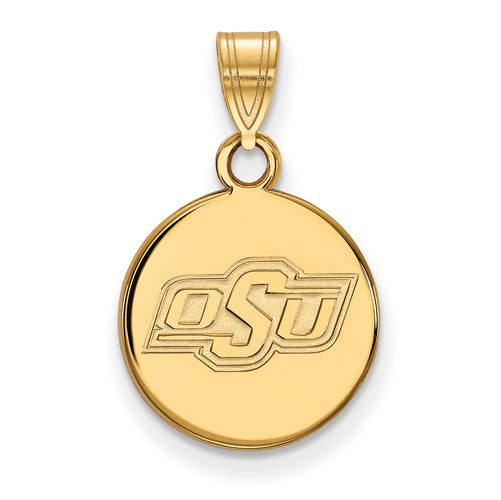 SS w/GP Oklahoma State University Small Disc Pendant